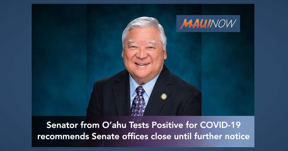 Hawai'i Senator Nishihara of O'ahu Tests Positive for COVID-19
