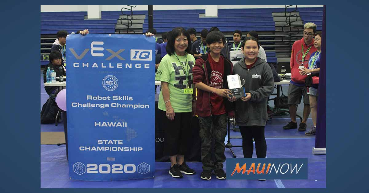 RESULTS: 2020 State Middle School VEX IQ Championships hosted on Maui