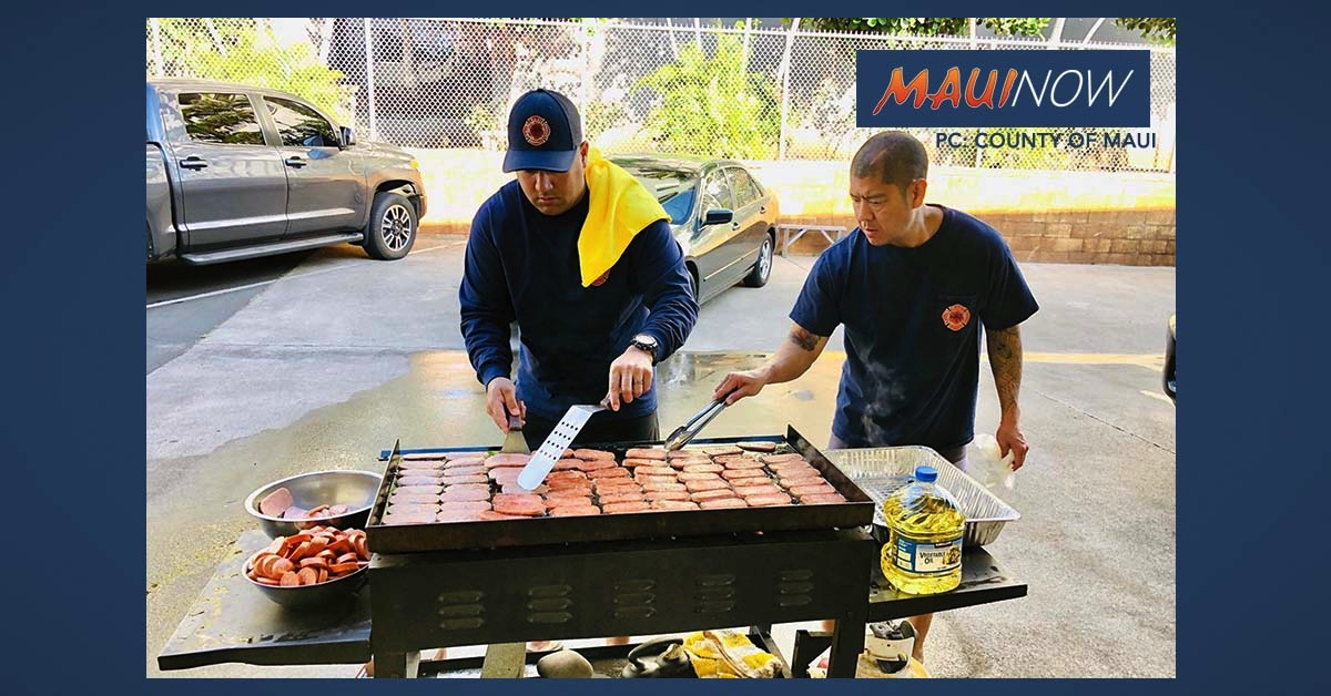 PHOTOS: Wailuku Firefighters Fire Up the Grill for Hospital Workers
