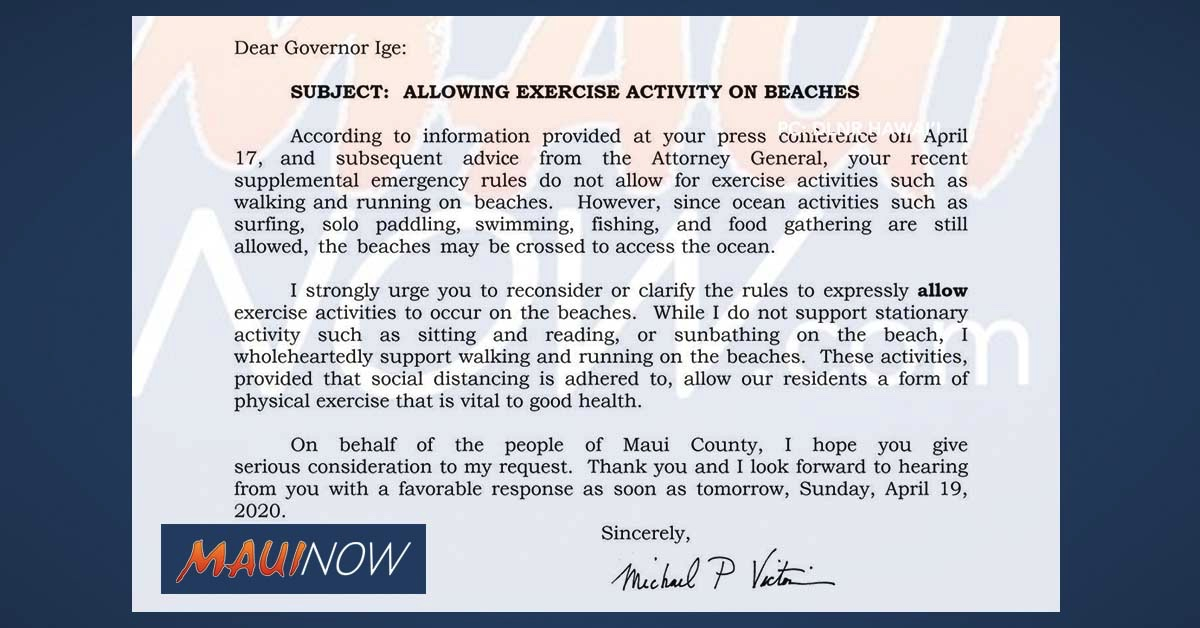 Letter: Mayor Victorino Urges Governor to Reconsider Rules Related to Exercise on the Beach