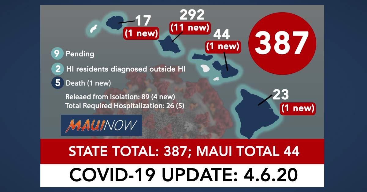 Hawai'i Coronavirus Total Now 387: 16 New Cases, Maui Total is 44