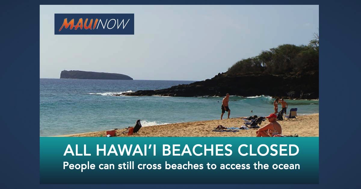 All Hawai'i Beaches Closed by Governor's Supplementary Proclamation