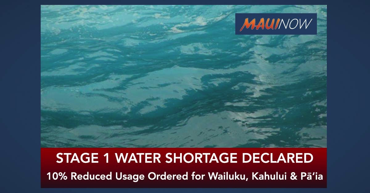 Maui Stage 1 Water Shortage Declared, 10% Reduced Usage Ordered for Wailuku, Kahului & Pā'ia