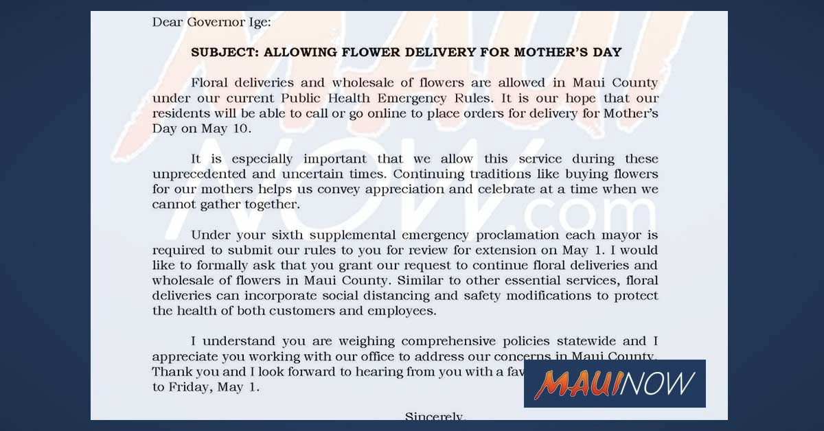 UPDATE: Flower Deliveries Approved for Mother's Day