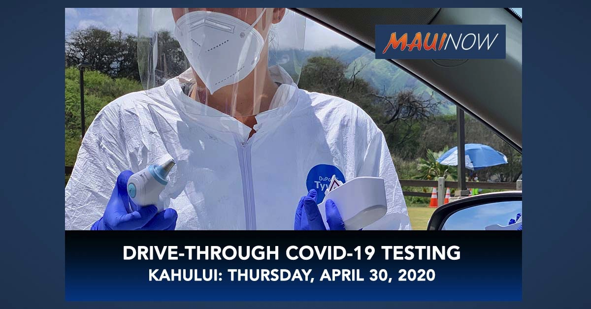 Drive-Through COVID-19 Testing at Keōpūolani Park, April 30