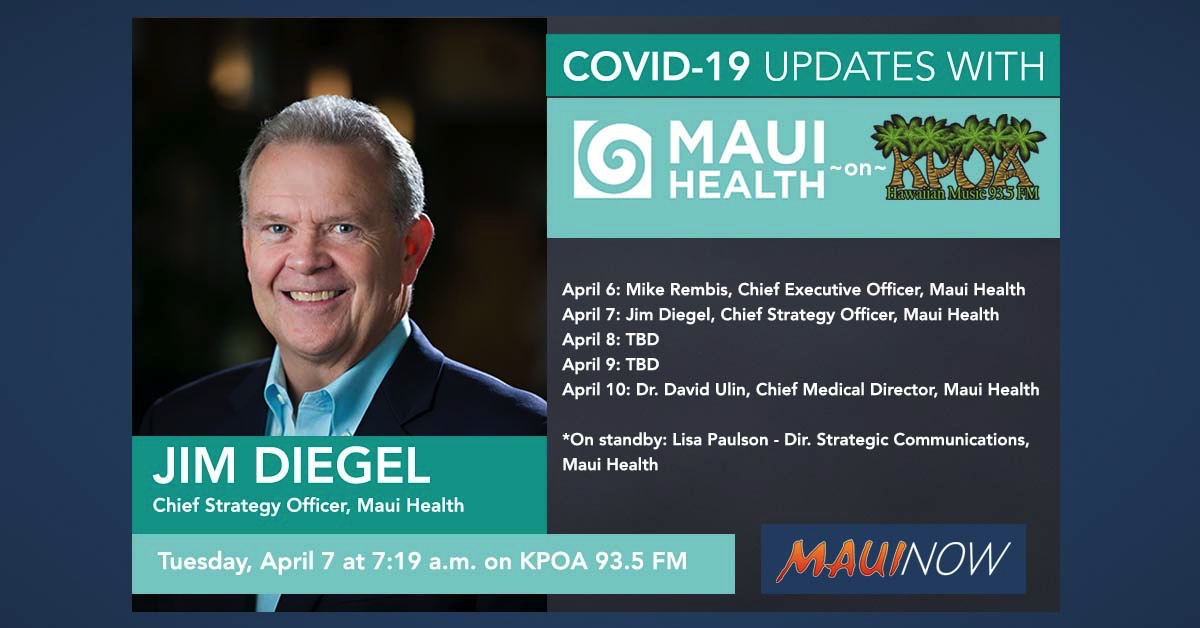 Jim Diegel with Today's Maui Health COVID-19 Update