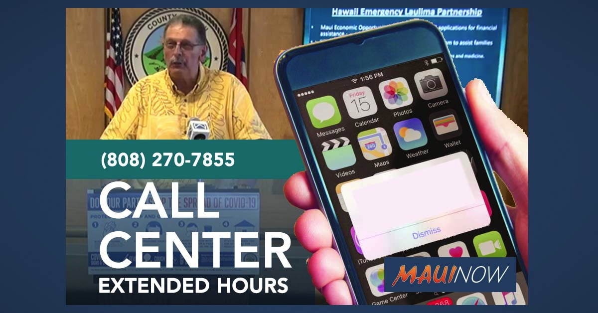 Maui COVID-19 Call Center Hours Extended