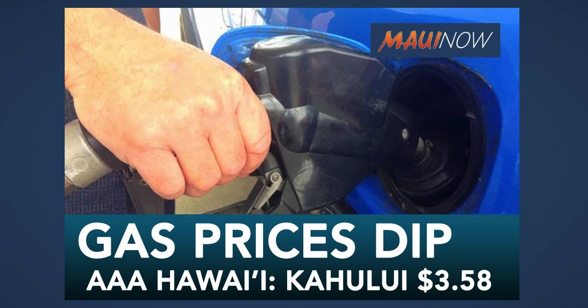 AAA Hawai'i: Gas Prices Dip, Kahului Average is $3.58
