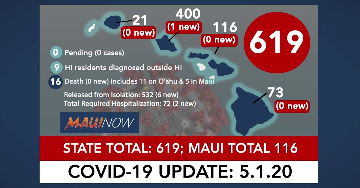 Hawai'i Coronavirus Total Now 619 (1 New Case): Maui Total is 116