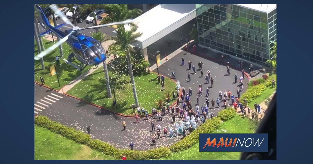 Blue Hawaiian Helicopters Holds Flower Drop For Maui Health Care Heroes