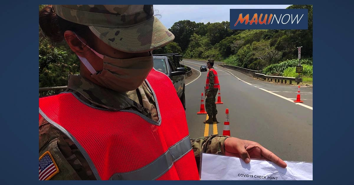 National Guard Troops on Maui Reduced, Hāna Hwy Checkpoint to Remain in Place