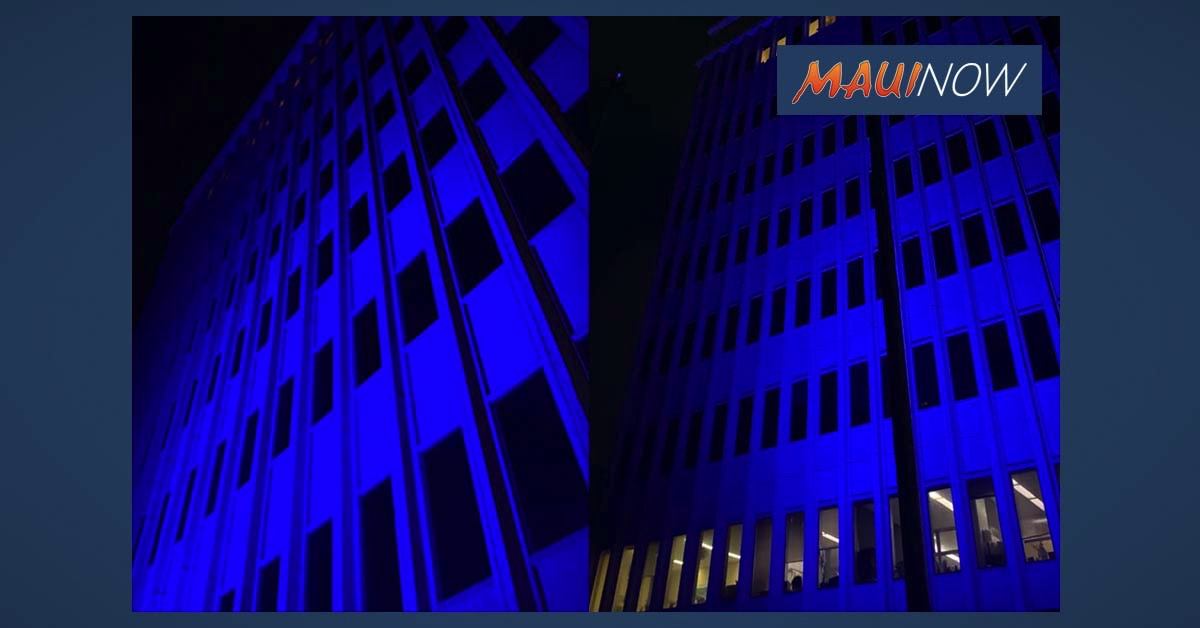 County Building Illuminated in Blue Last Night to Honor Emergency Medical Workers