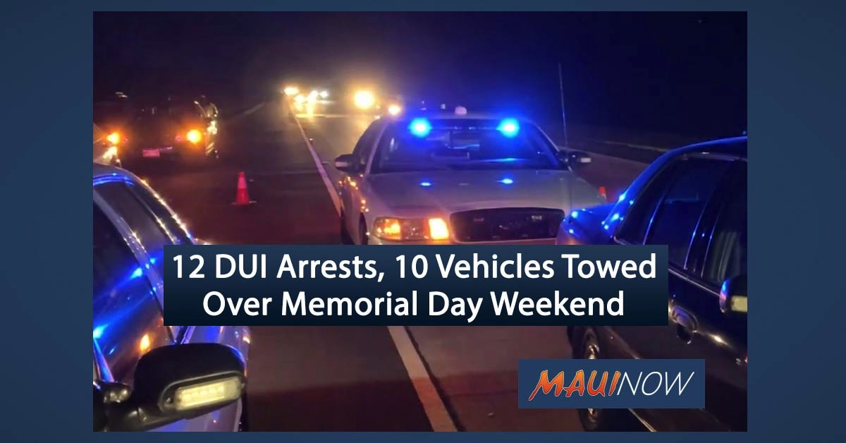 Maui Police Make 12 DUI Arrests, Tow 10 Vehicles Over Memorial Day Weekend