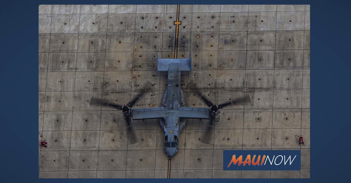 10 Military Ospreys Conduct Training Flight Over Maui