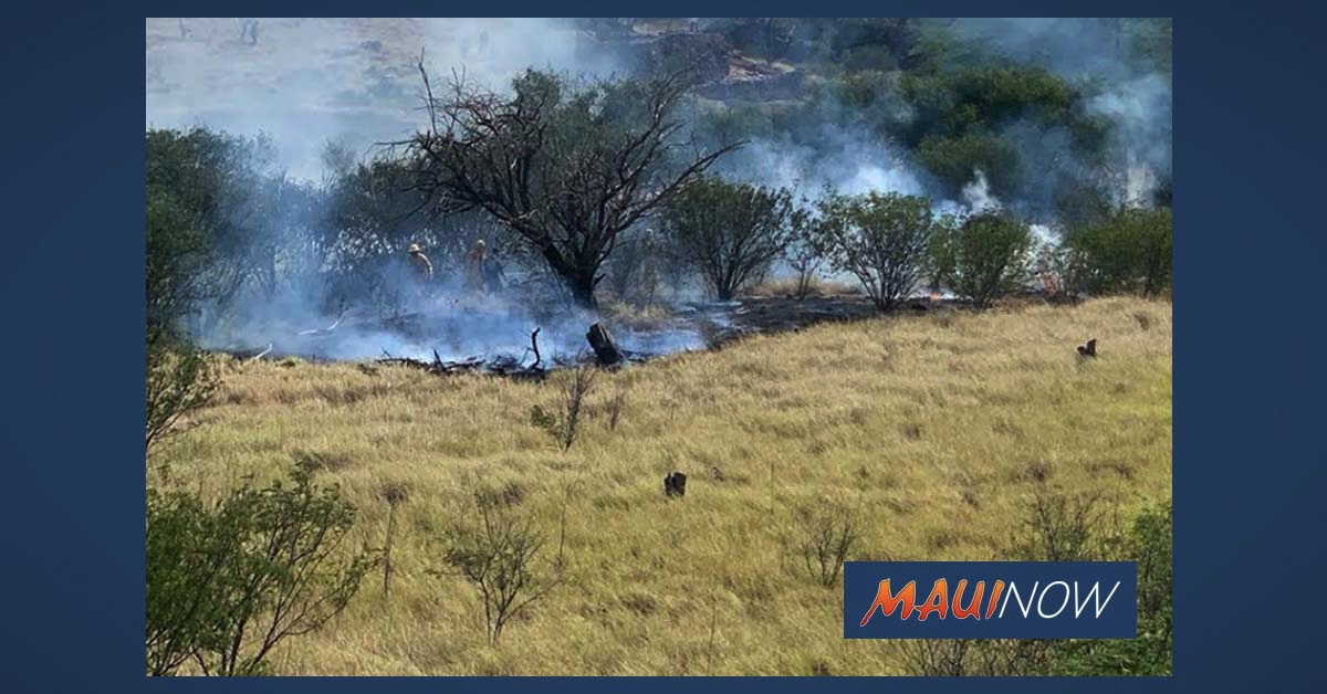 Kīhei Brush Fire Burns 1/4 Acre, Mop-Up Should Be Completed Shortly