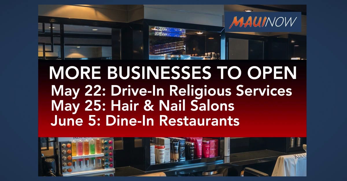 End of Day Recap: Maui Drive-In Religious Services May 22, Salons May 25, Dine-In Restaurants June 5