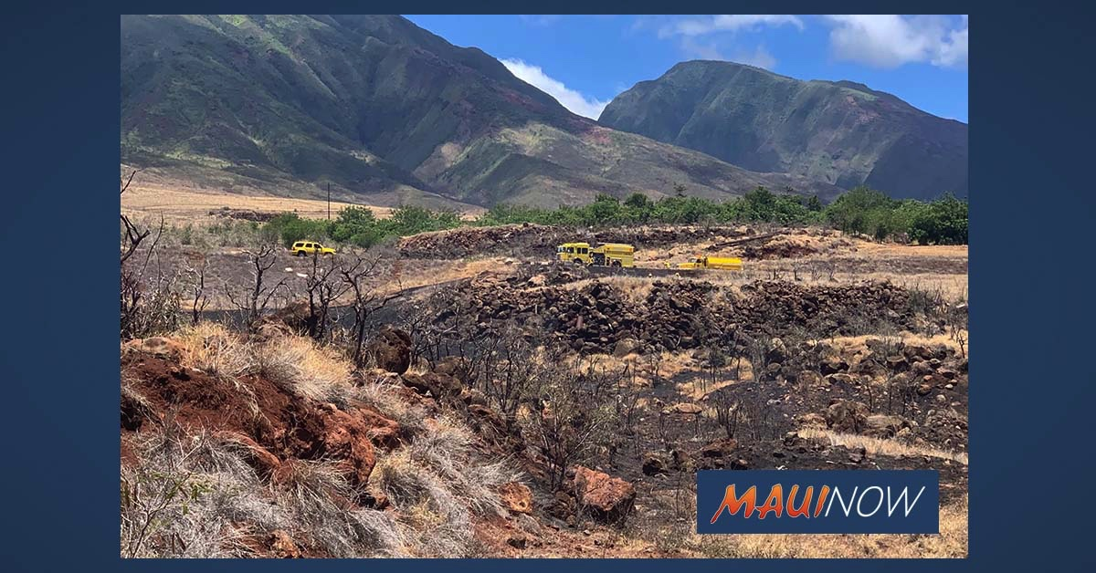 Mid-Day Brush Fire Near Lahaina Bypass Burns 5 Acres