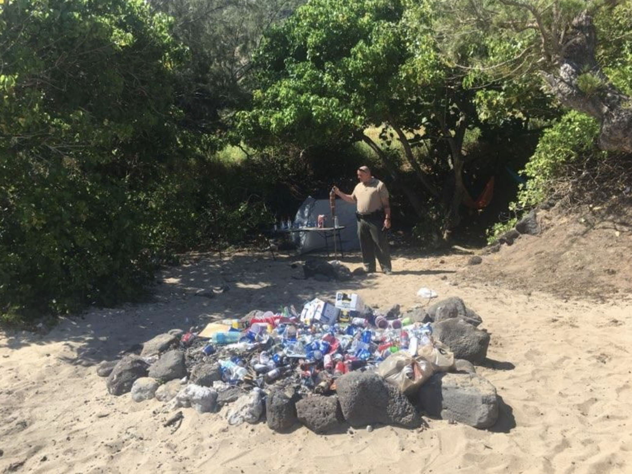 Large Beach Party Broken Up by Law Enforcement at Ka'ena Point State Park, North Shore O'ahu