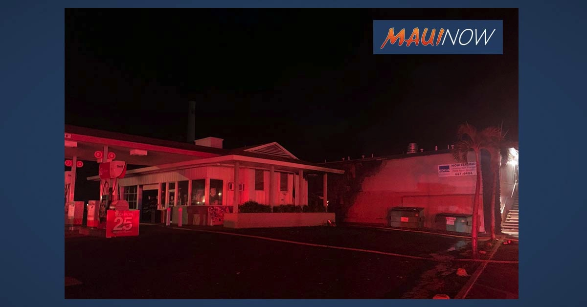 Maui Fire Crews Douse Fire at Gas Station on Papalaua Street in Lahaina