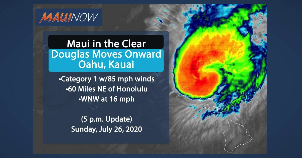 Hurricane Warning CANCELED for MAUI, Douglas Moves Onward (5 p.m. Update)