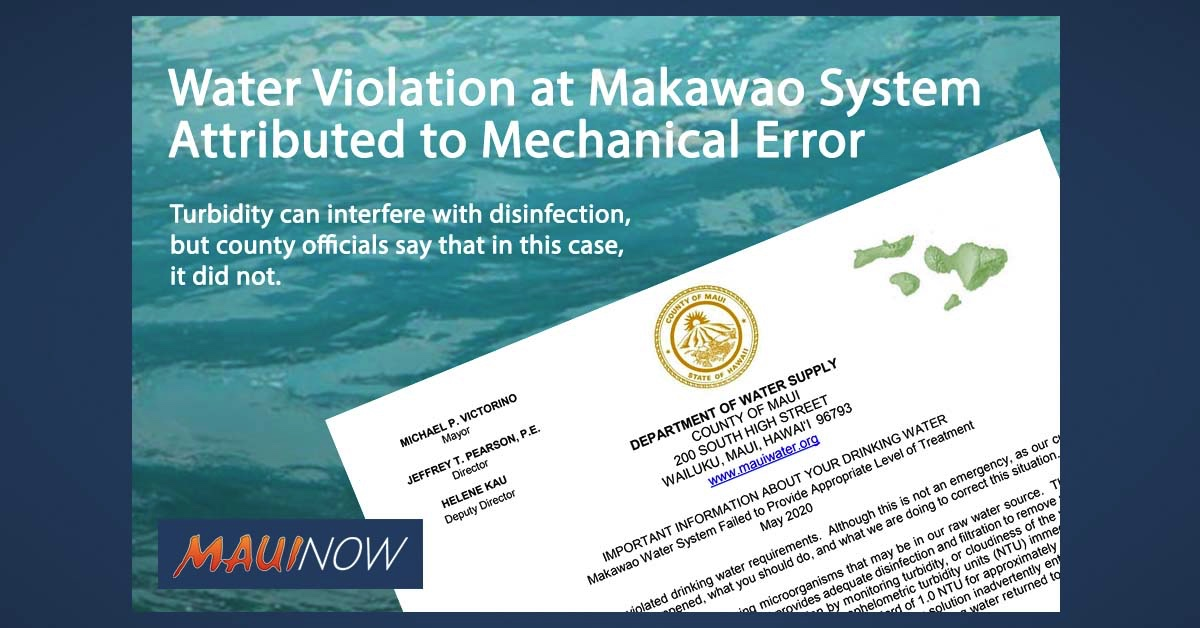 Water Violation at Makawao System Attributed to Mechanical Error