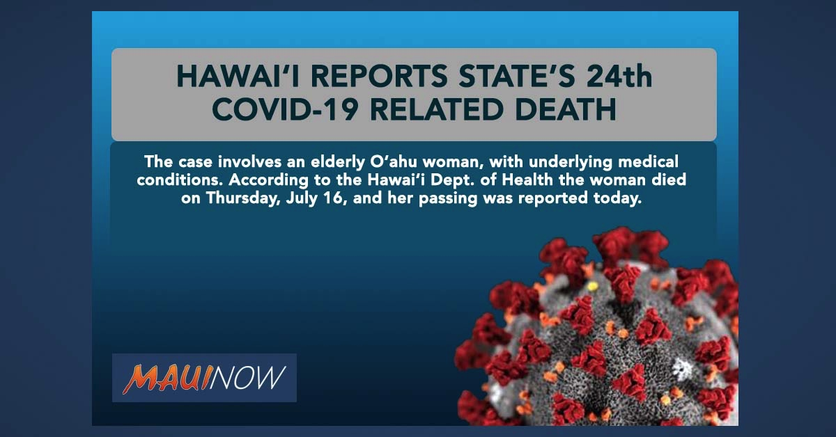 Hawai'i Reports State's 24th COVID-19 Related Death