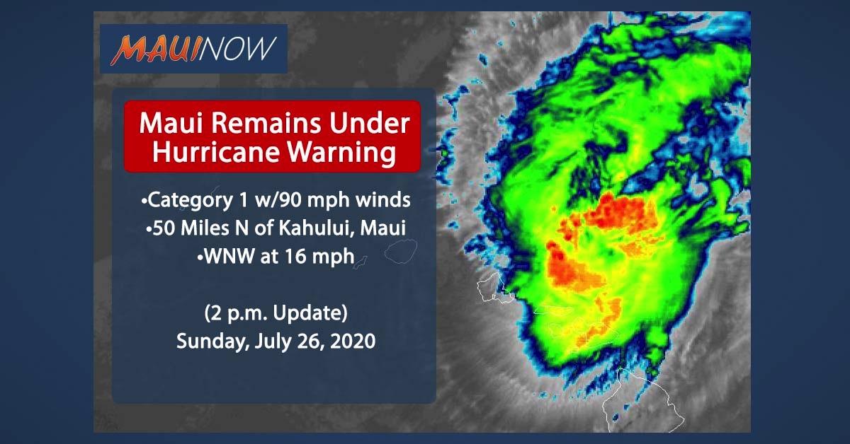 Hurricane Douglas 50 Miles N of Kahului, Maui (Update: 2 p.m.)