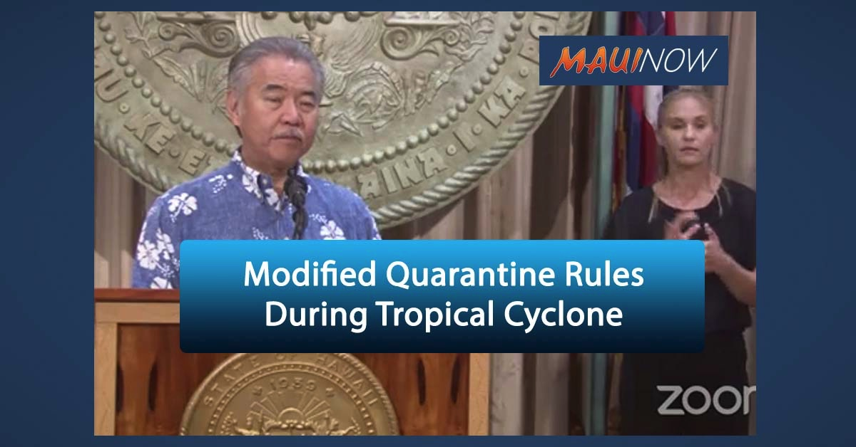 Modified Quarantine Rules in Place During Tropical Cyclone