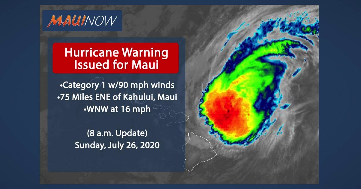 Hurricane Warning Issued for Maui, Douglas Closing in on Hawaiian Islands (8 a.m. Update)