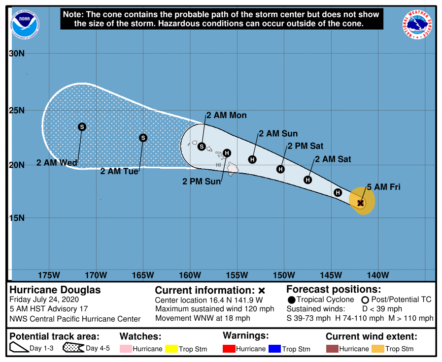New tropical threat in Atlantic as Douglas nears Hawaii