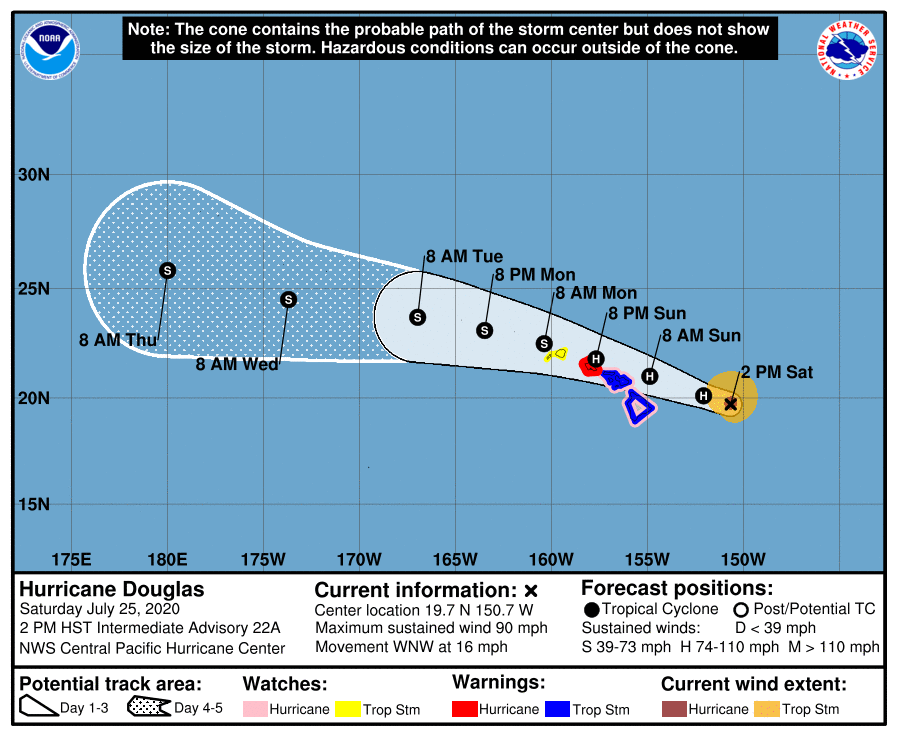 Hurricane Warning Issued for Oahu, Category 1 Douglas Continues on WNW Path Toward Hawaii (2 p.m. Update)