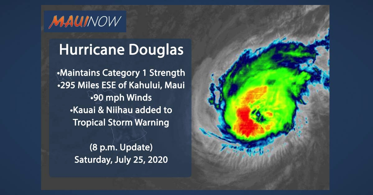 Hurricane Douglas Maintains Category 1 Strength, Drawing Closer to Hawaii (8 p.m. Update)