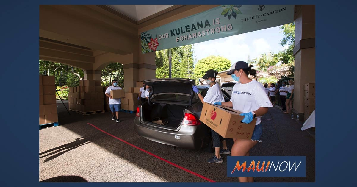 $100K Donation From Local Hotels Provides 2,000 Food Packages to Maui Families