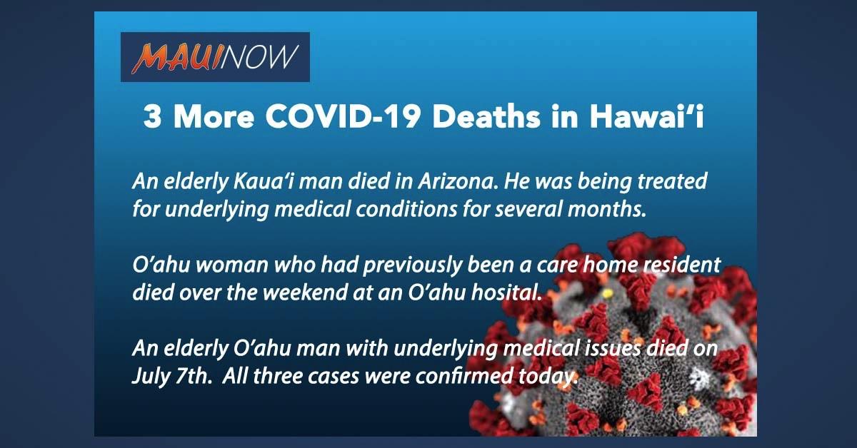Hawai'i Has Three More COVID-19 Deaths
