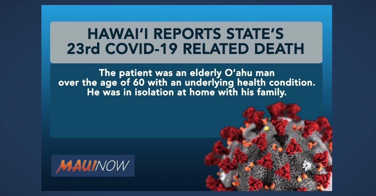 Hawai'i Reports State's 23rd COVID-19 Related Death