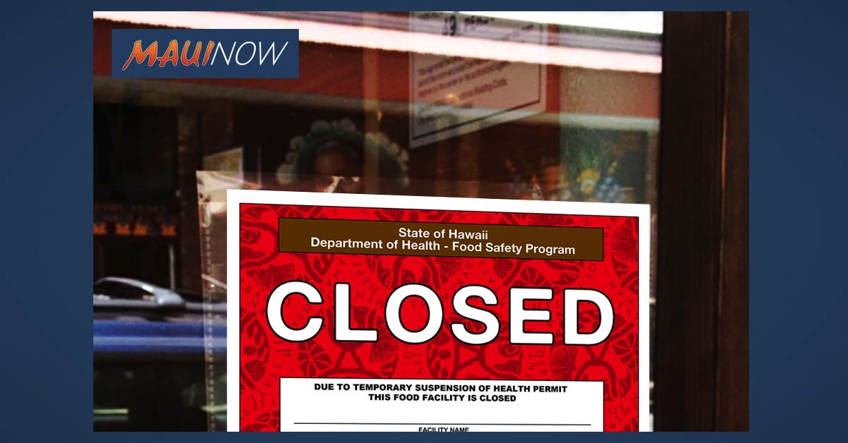 Health Department Issues Red Placard to Kīhei Restaurant Due to Alleged Roach Infestation