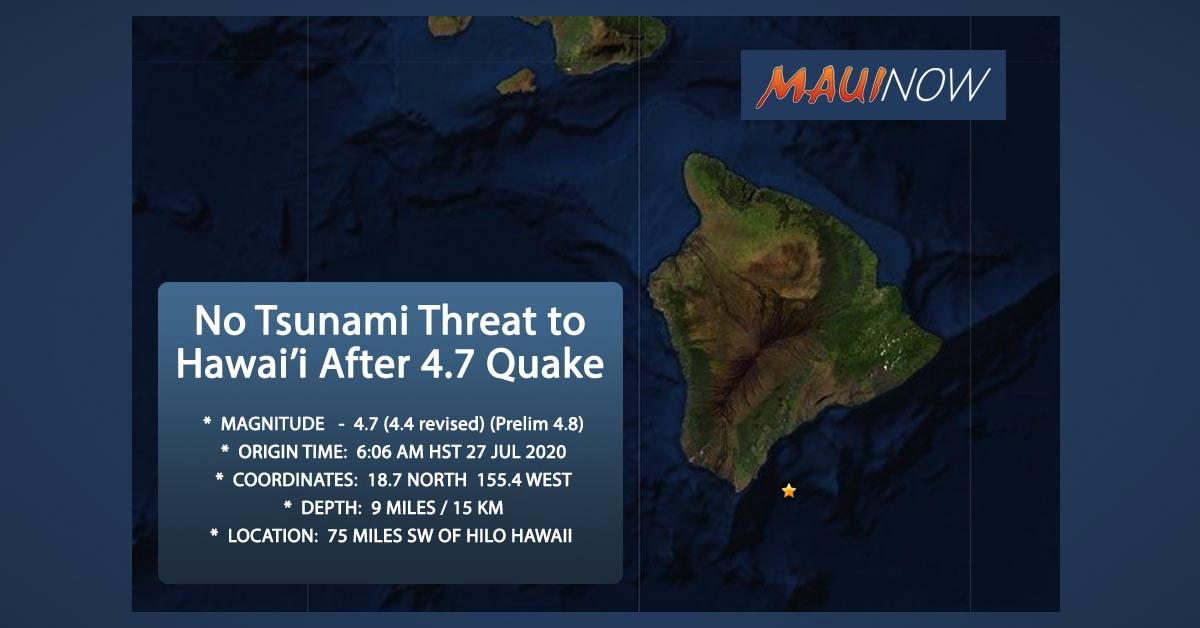 No Tsunami After 4.7  Hawai'i Island Earthquake