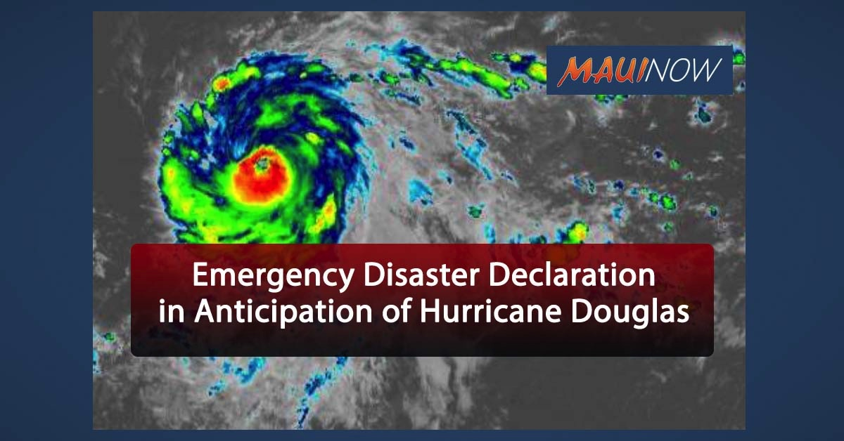 Ige Issues Emergency Disaster Declaration in Anticipation of Hurricane Douglas
