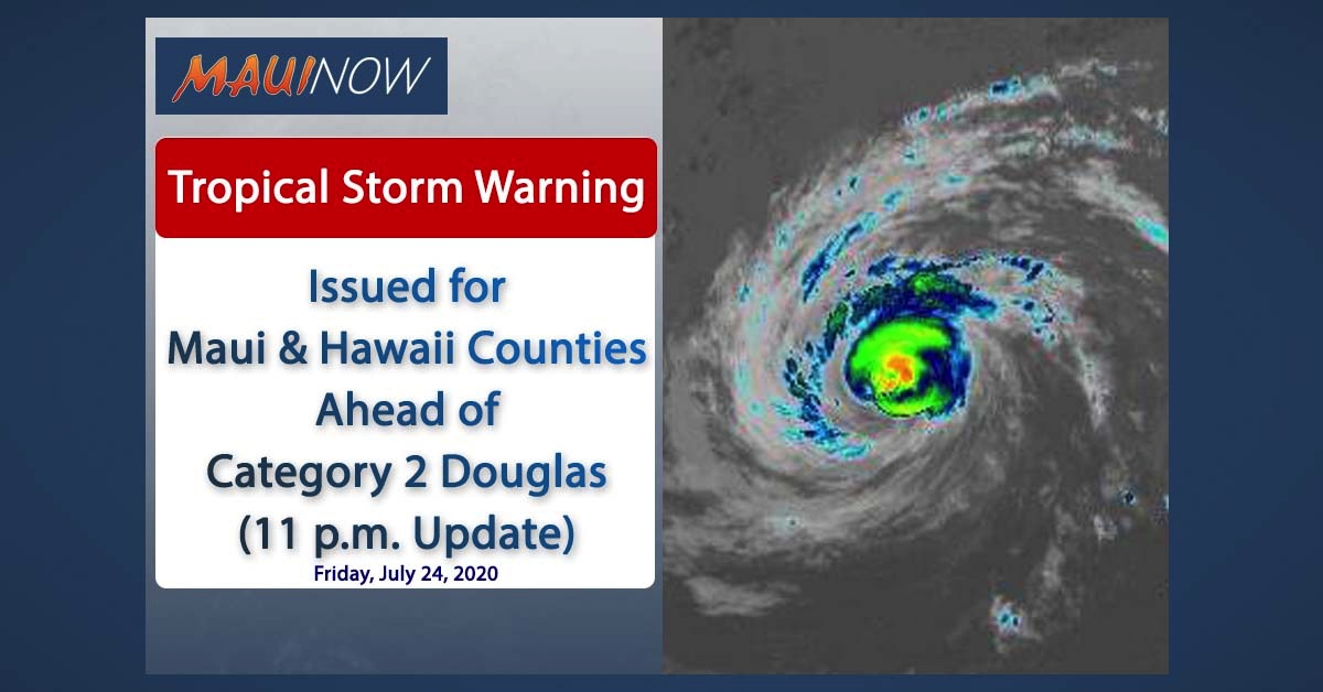 Category 2 Douglas Weakens Slightly, Tropical Storm Warning for Maui and Big Island (11 p.m. Update)