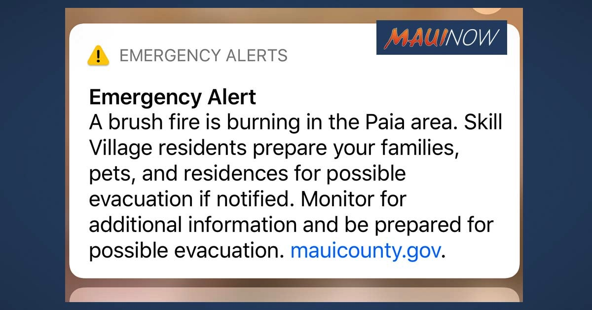 UPDATE: Residents of Skill Village in Pāʻia Advised to be Prepared for Possible Evacuation