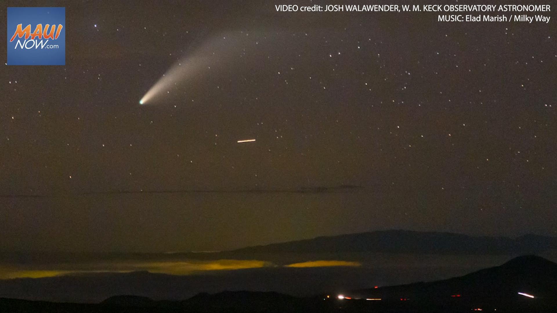 Timelapse Video of Comet NEOWISE Setting Behind Maui's Haleakalā