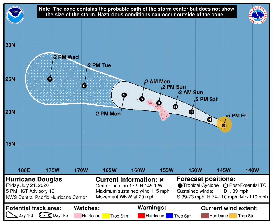 Category 3 Hurricane Douglas Still Moving Toward Hawaii (8 p.m. Update)