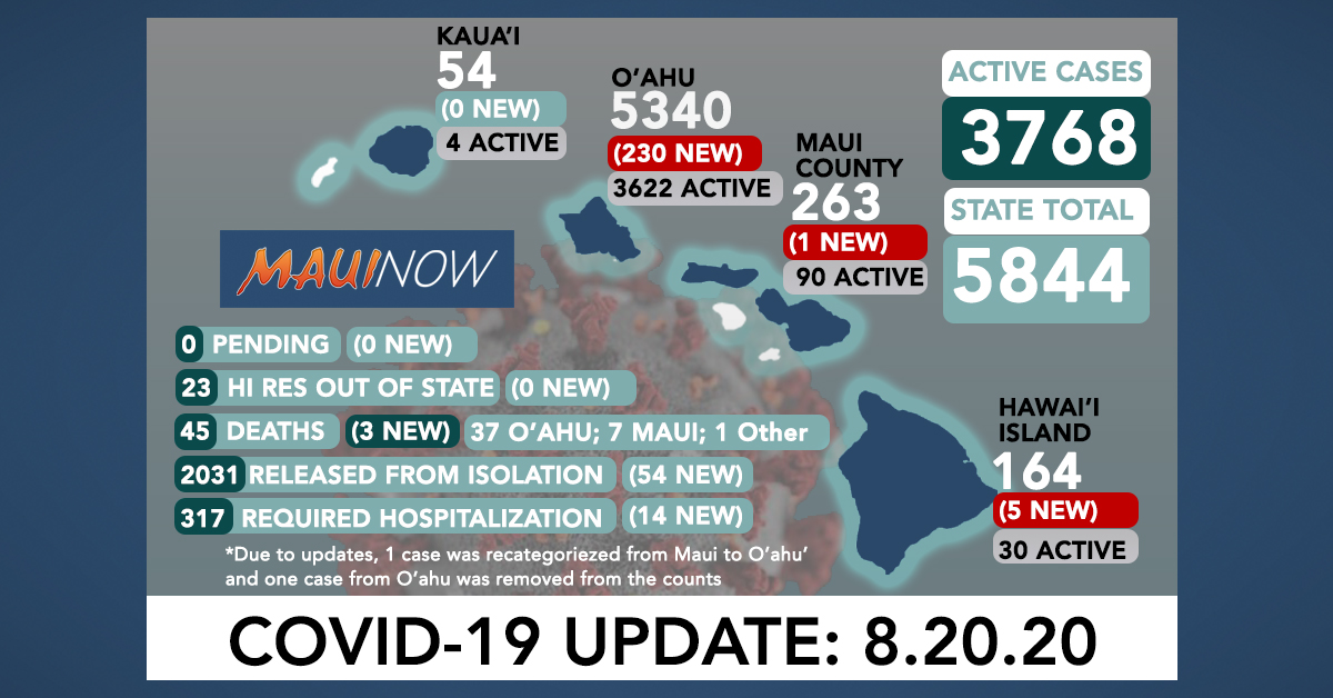 236 New COVID-19 Cases in Hawai'i; State Logs Deaths on O'ahu and Maui