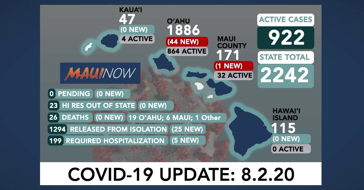 45 New COVID-19 Cases in Hawai'i; Temporary Reporting Delays Affect Total