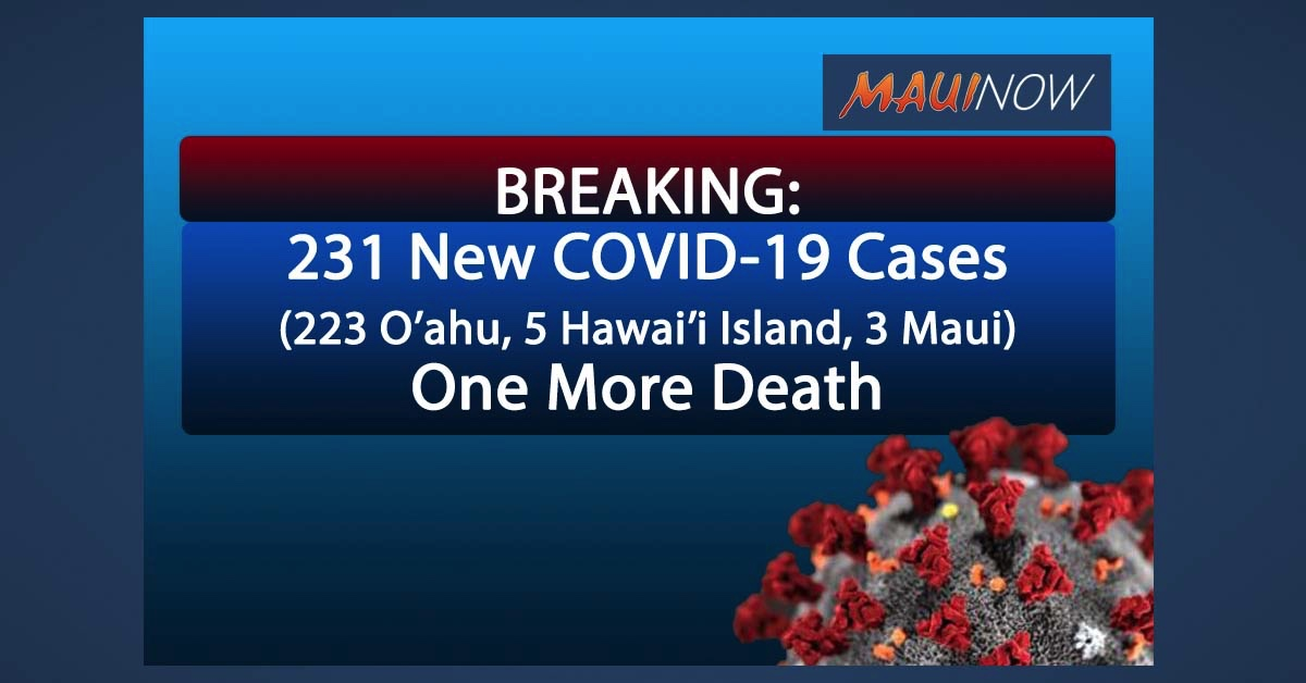BREAKING: 231 New COVID-19 Cases in Hawai'i, One More Death