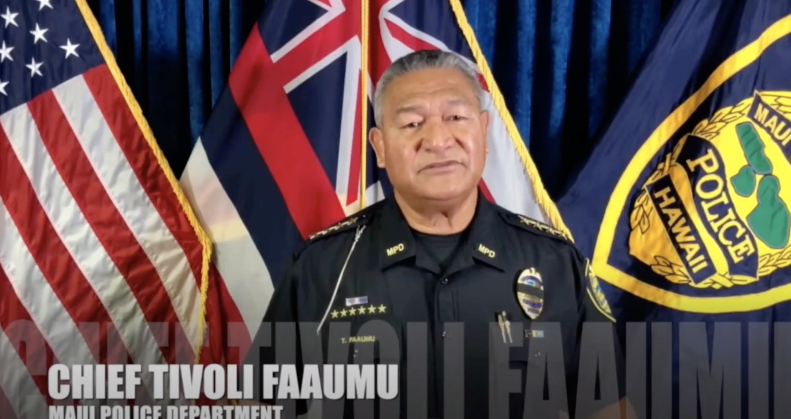 Maui Police Chief Issues Crisis Support Video Message