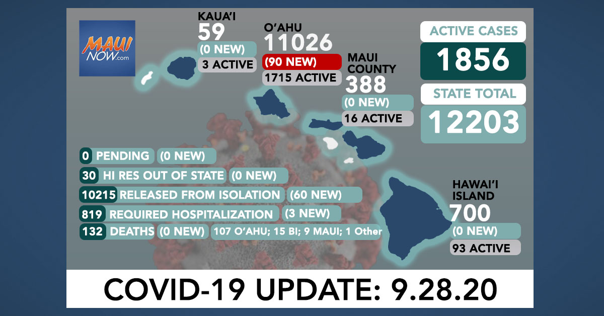 4th Consecutive Day of No New Cases on Maui; Maui Active Cases Drop to 16