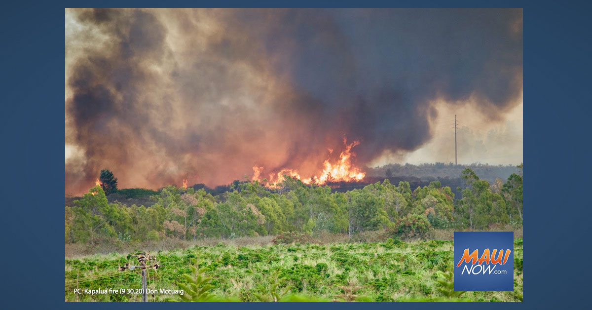 UPDATE: Kapalua Fire Blackens 450 Acres, 50% Contained