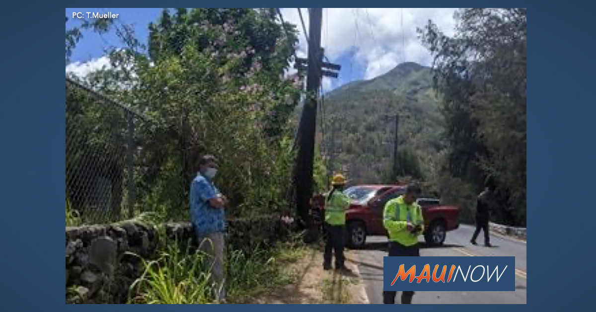 Vehicle Accident on S. Alu Street Knocks Out Power to Parts of Wailuku