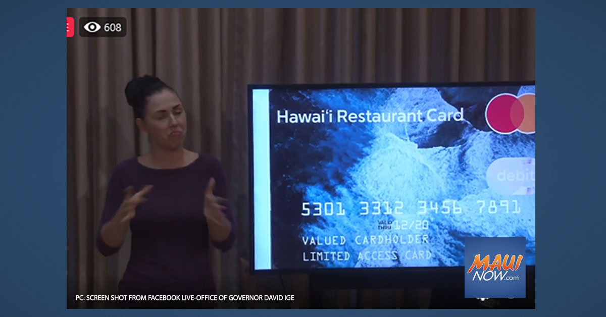 Pre-Paid $500 Restaurant Card Program to Help Struggling Hawai'i Workers and Business